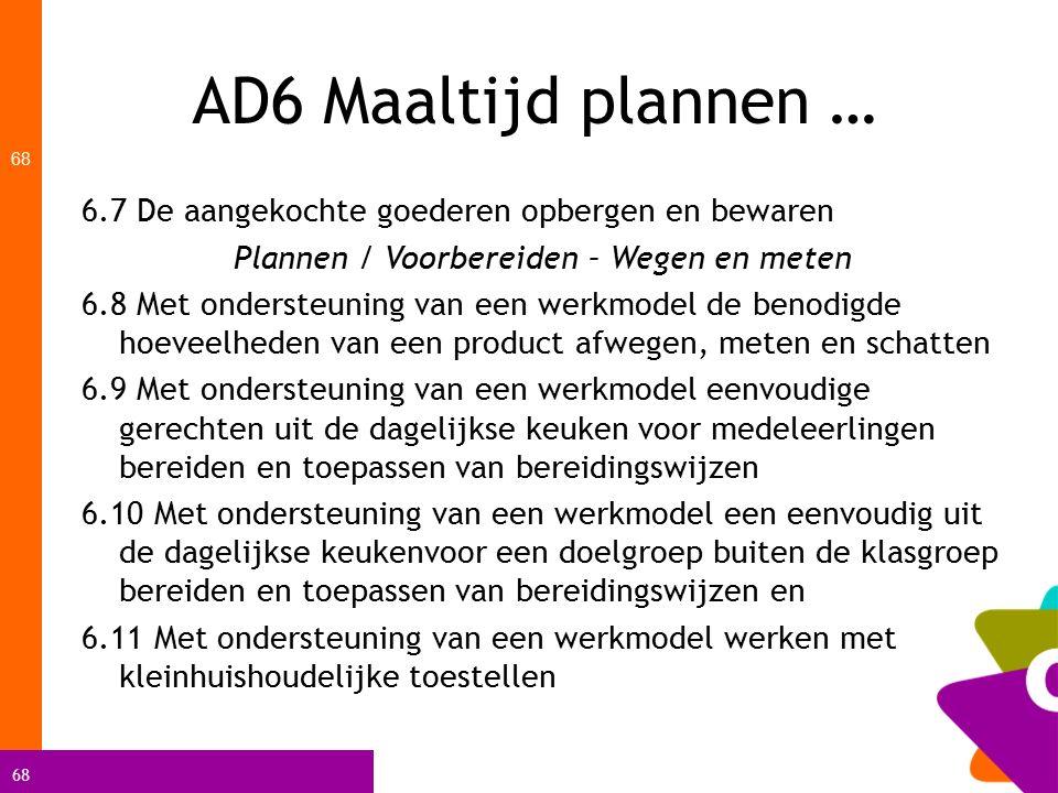 68 AD6 Maaltijd plannen … 68 6.7 De aangekochte goederen opbergen en bewaren Plannen / Voorbereiden – Wegen en meten 6.8 Met ondersteuning van een wer