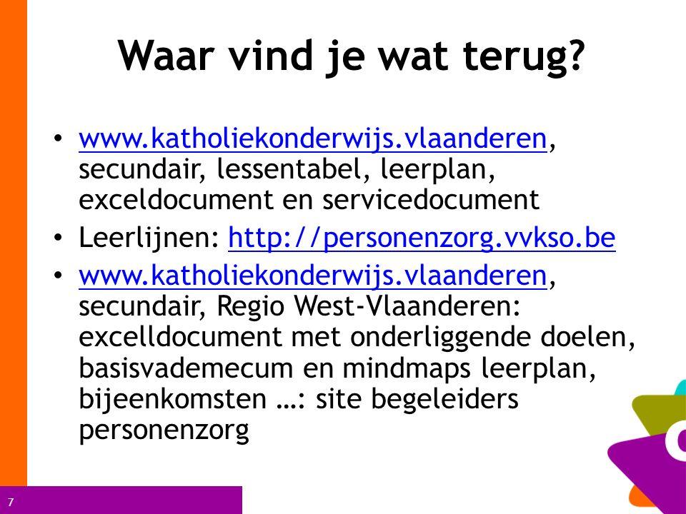 7 Waar vind je wat terug? www.katholiekonderwijs.vlaanderen, secundair, lessentabel, leerplan, exceldocument en servicedocument www.katholiekonderwijs