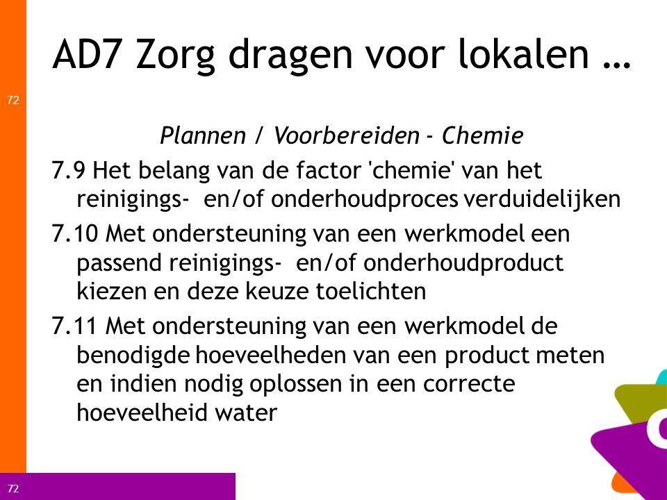72 AD7 Zorg dragen voor lokalen … 72 Plannen / Voorbereiden - Chemie 7.9 Het belang van de factor 'chemie' van het reinigings- en/of onderhoudproces v