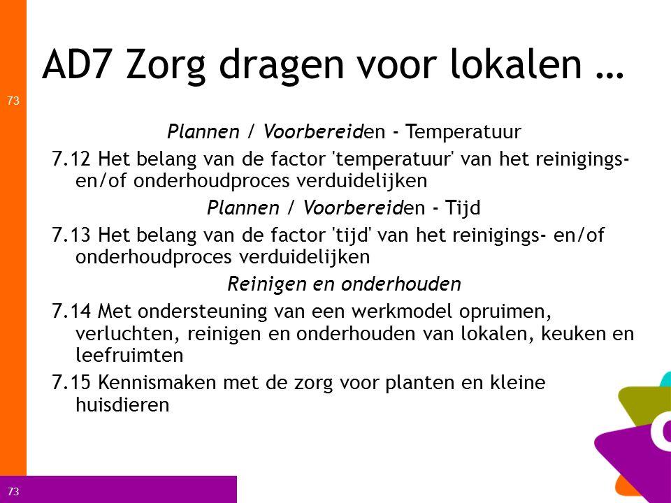 73 AD7 Zorg dragen voor lokalen … 73 Plannen / Voorbereiden - Temperatuur 7.12 Het belang van de factor 'temperatuur' van het reinigings- en/of onderh