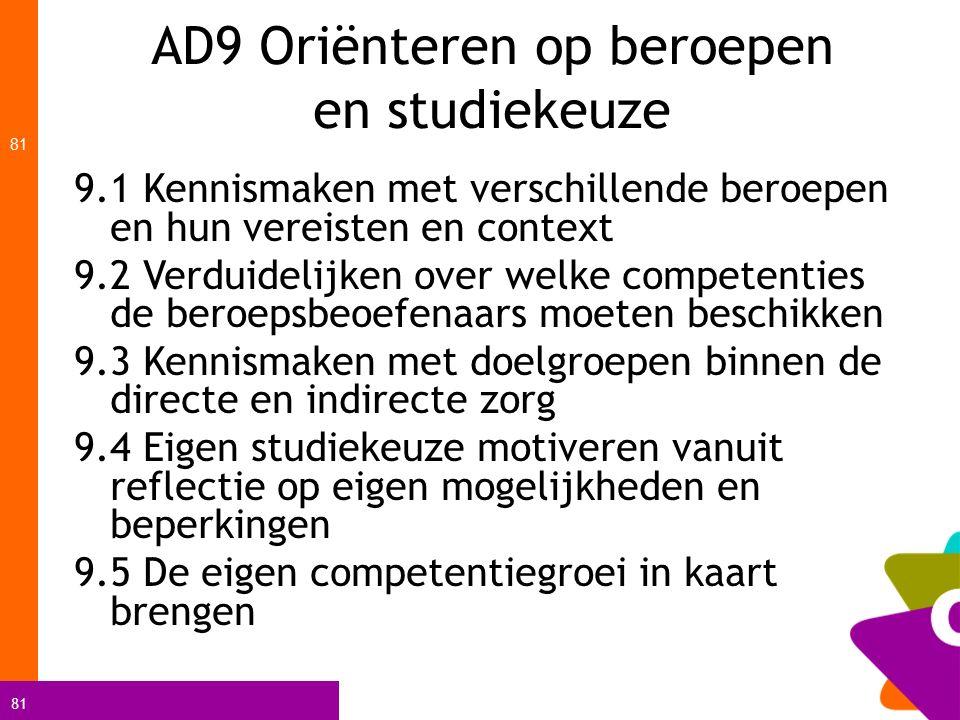 81 AD9 Oriënteren op beroepen en studiekeuze 81 9.1 Kennismaken met verschillende beroepen en hun vereisten en context 9.2 Verduidelijken over welke c