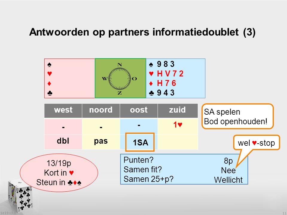 1e19 v3.0 11 Antwoorden op partners informatiedoublet (3) ♠♥♦♣♠♥♦♣ ♠♥♦♣♠♥♦♣ westnoordoostzuid -- -1♥ dblpas Wat heeft partner.