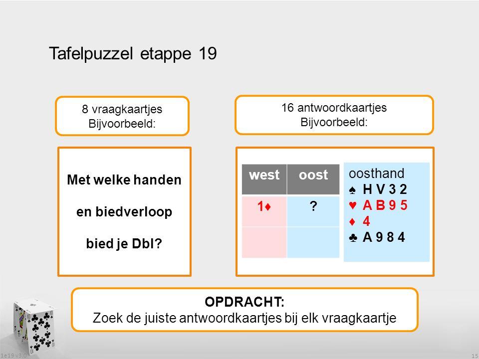 1e19 v3.0 15 Tafelpuzzel etappe 19 OPDRACHT: Zoek de juiste antwoordkaartjes bij elk vraagkaartje 8 vraagkaartjes Bijvoorbeeld: 16 antwoordkaartjes Bijvoorbeeld: Met welke handen en biedverloop bied je Dbl.