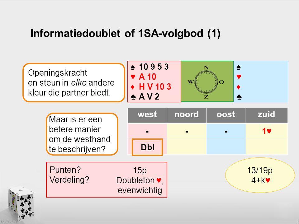 1e19 v3.0 6 Informatiedoublet of 1SA-volgbod (1) westnoordoostzuid ---1♥ ♠♥♦♣♠♥♦♣ ♠♥♦♣♠♥♦♣ Punten.
