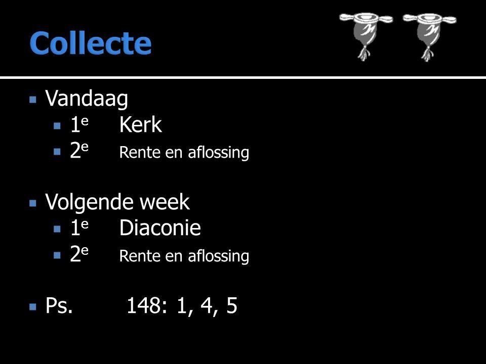  Vandaag  1 e Kerk  2 e Rente en aflossing  Volgende week  1 e Diaconie  2 e Rente en aflossing 148: 1, 4, 5  Ps.