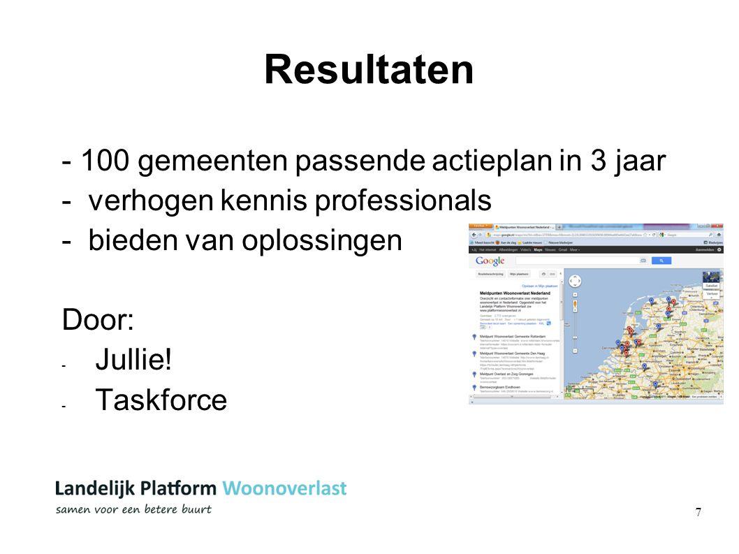 7 Resultaten - 100 gemeenten passende actieplan in 3 jaar - verhogen kennis professionals - bieden van oplossingen Door: - Jullie! - Taskforce