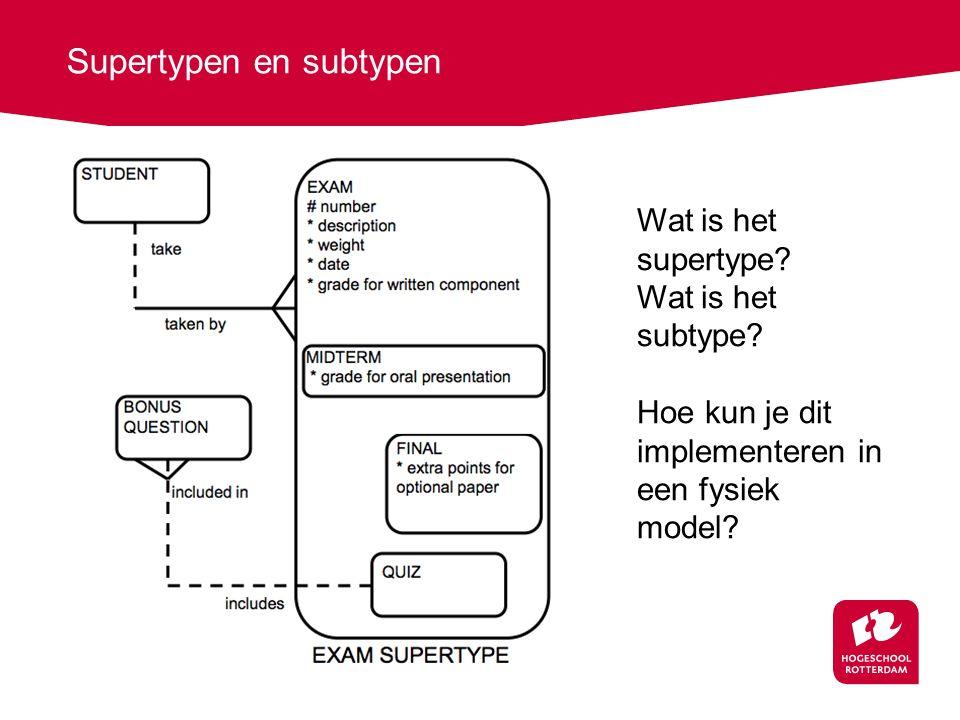 Supertypen en subtypen Wat is het supertype? Wat is het subtype? Hoe kun je dit implementeren in een fysiek model?