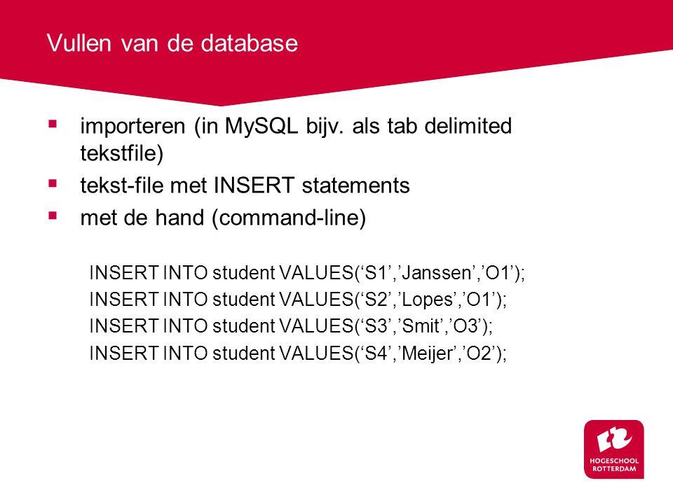 Vullen van de database  importeren (in MySQL bijv.