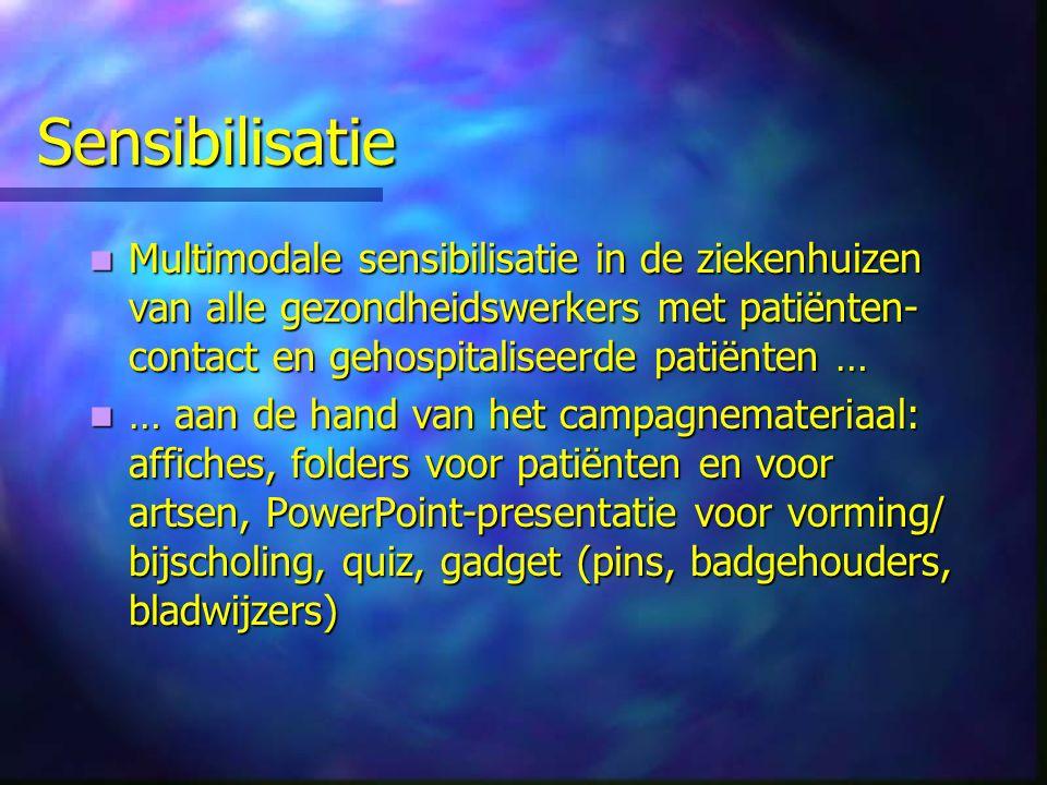 Sensibilisatie Multimodale sensibilisatie in de ziekenhuizen van alle gezondheidswerkers met patiënten- contact en gehospitaliseerde patiënten … Multimodale sensibilisatie in de ziekenhuizen van alle gezondheidswerkers met patiënten- contact en gehospitaliseerde patiënten … … aan de hand van het campagnemateriaal: affiches, folders voor patiënten en voor artsen, PowerPoint-presentatie voor vorming/ bijscholing, quiz, gadget (pins, badgehouders, bladwijzers) … aan de hand van het campagnemateriaal: affiches, folders voor patiënten en voor artsen, PowerPoint-presentatie voor vorming/ bijscholing, quiz, gadget (pins, badgehouders, bladwijzers)