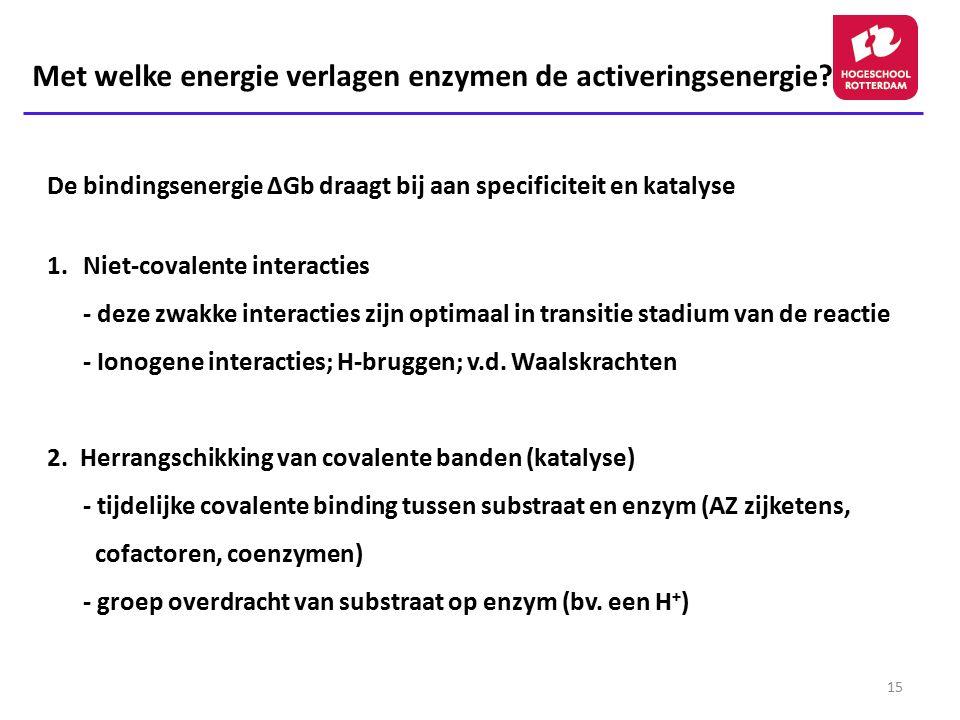15 De bindingsenergie ΔGb draagt bij aan specificiteit en katalyse 1.Niet-covalente interacties - deze zwakke interacties zijn optimaal in transitie s