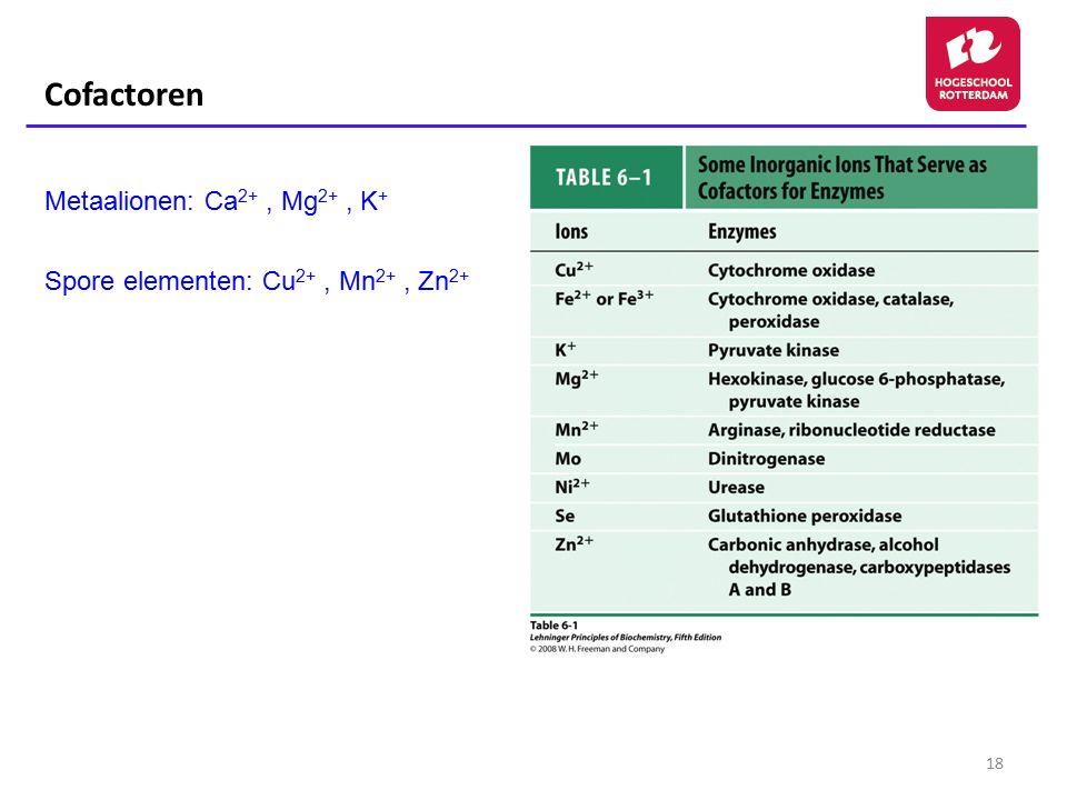 18 Cofactoren Metaalionen: Ca 2+, Mg 2+, K + Spore elementen: Cu 2+, Mn 2+, Zn 2+