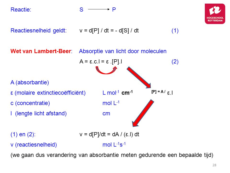 28 Reactie:S P Reactiesnelheid geldt:v = d[P] / dt = - d[S] / dt(1) Wet van Lambert-Beer: Absorptie van licht door moleculen A = ε.c.l = ε.[P].l(2) A