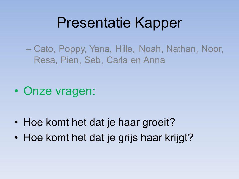 Presentatie Kapper –Cato, Poppy, Yana, Hille, Noah, Nathan, Noor, Resa, Pien, Seb, Carla en Anna Onze vragen: Hoe komt het dat je haar groeit? Hoe kom