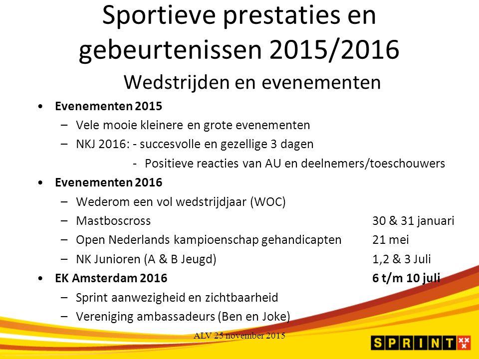 Sportieve prestaties en gebeurtenissen 2015/2016 Wedstrijden en evenementen Evenementen 2015 –Vele mooie kleinere en grote evenementen –NKJ 2016:- succesvolle en gezellige 3 dagen -Positieve reacties van AU en deelnemers/toeschouwers Evenementen 2016 –Wederom een vol wedstrijdjaar (WOC) –Mastboscross30 & 31 januari –Open Nederlands kampioenschap gehandicapten21 mei –NK Junioren (A & B Jeugd)1,2 & 3 Juli EK Amsterdam 20166 t/m 10 juli –Sprint aanwezigheid en zichtbaarheid –Vereniging ambassadeurs (Ben en Joke)