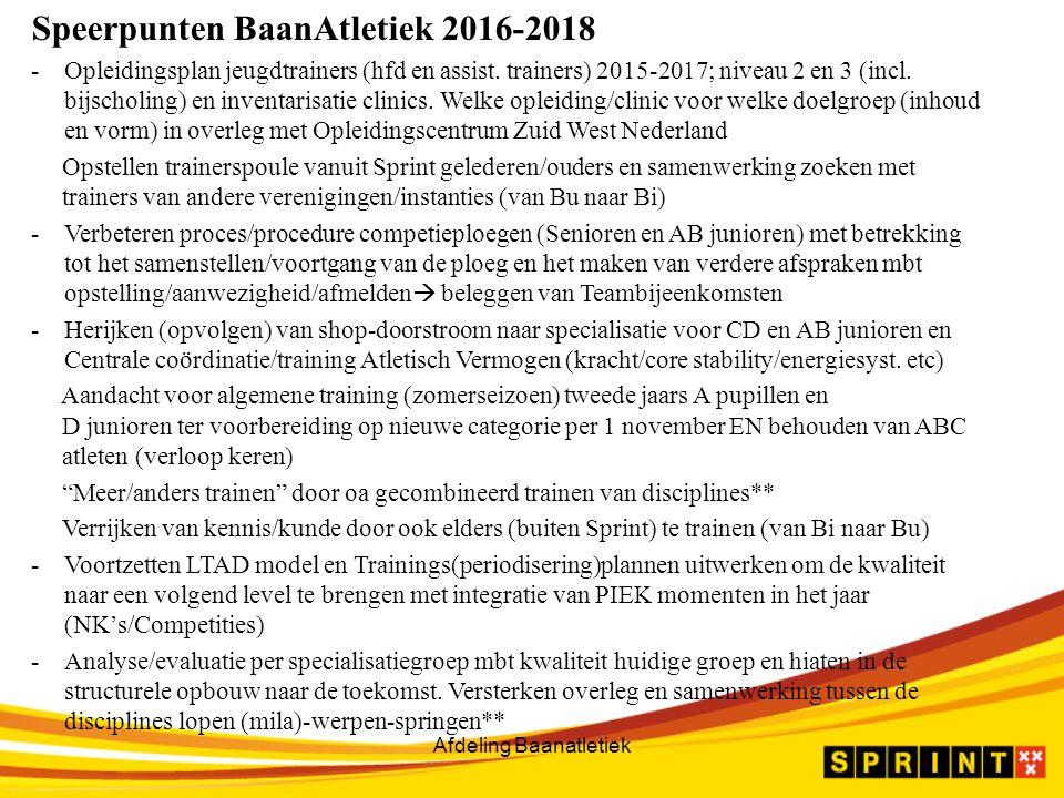 Afdeling Baanatletiek Speerpunten BaanAtletiek 2016-2018 -Opleidingsplan jeugdtrainers (hfd en assist.