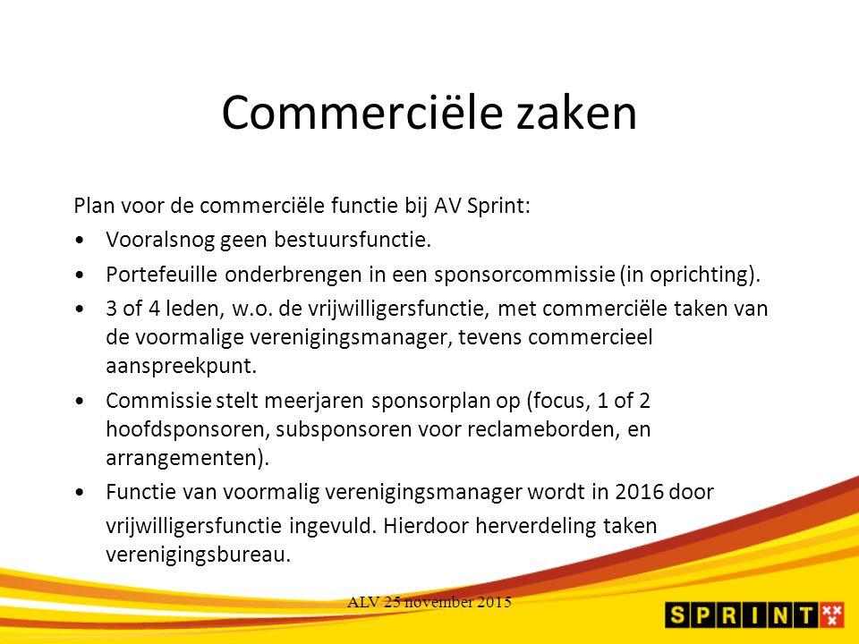 Commerciële zaken Plan voor de commerciële functie bij AV Sprint: Vooralsnog geen bestuursfunctie.