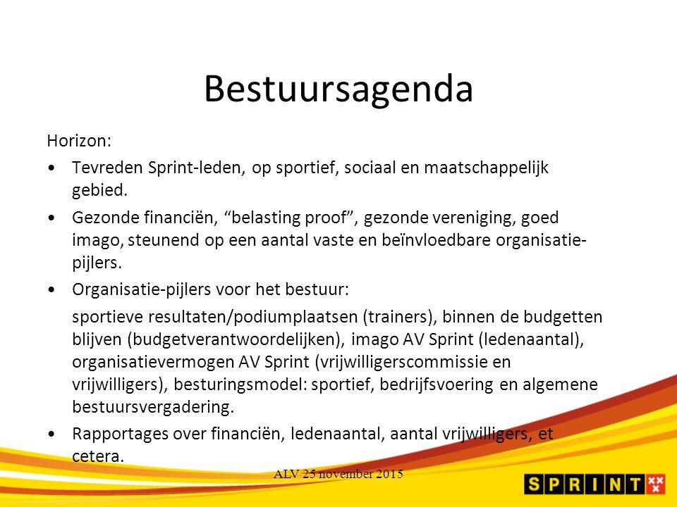 Bestuursagenda Horizon: Tevreden Sprint-leden, op sportief, sociaal en maatschappelijk gebied.