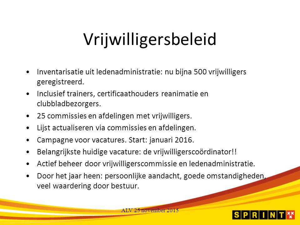 Vrijwilligersbeleid Inventarisatie uit ledenadministratie: nu bijna 500 vrijwilligers geregistreerd.
