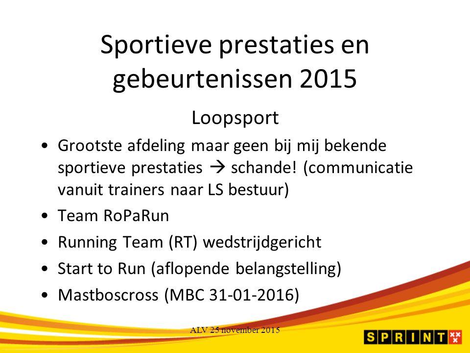 Sportieve prestaties en gebeurtenissen 2015 Loopsport Grootste afdeling maar geen bij mij bekende sportieve prestaties  schande.