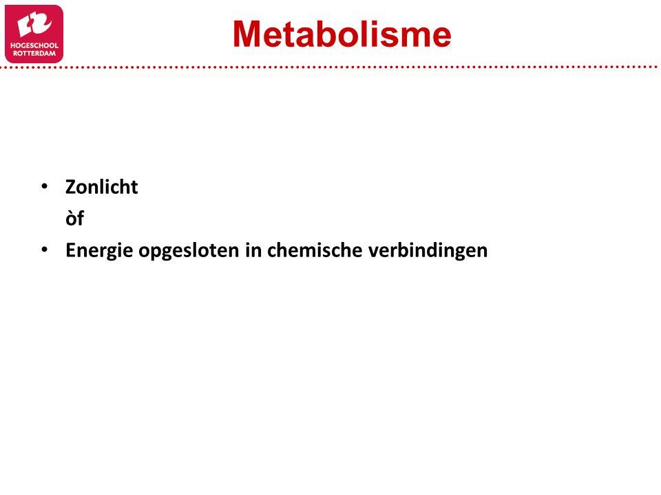 Zonlicht òf Energie opgesloten in chemische verbindingen Metabolisme