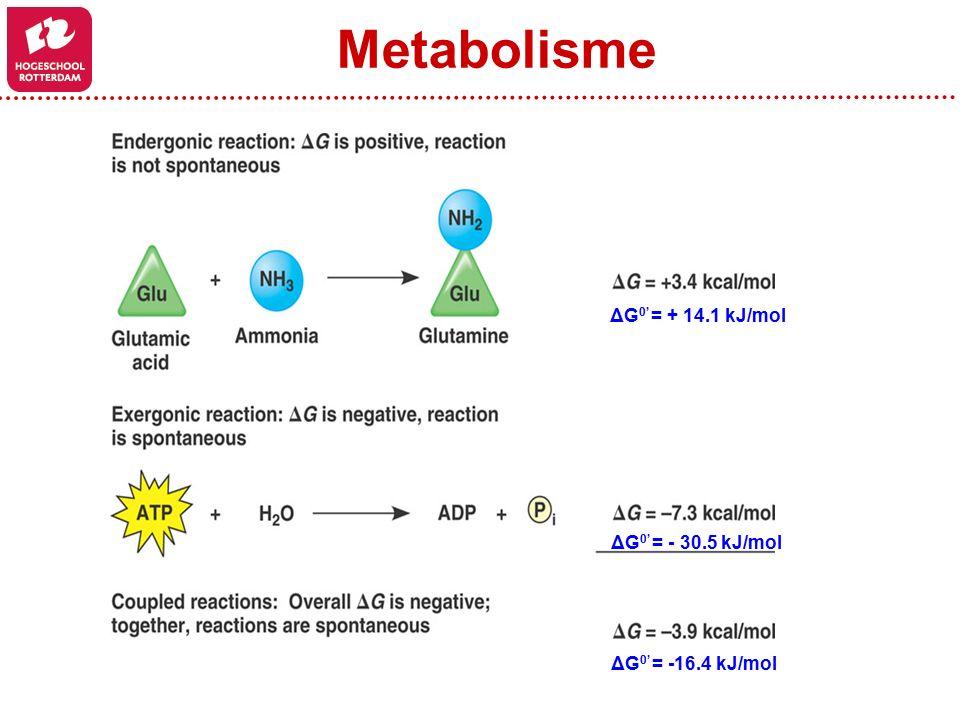 ΔG 0' = + 14.1 kJ/mol ΔG 0' = - 30.5 kJ/mol ΔG 0' = -16.4 kJ/mol Metabolisme