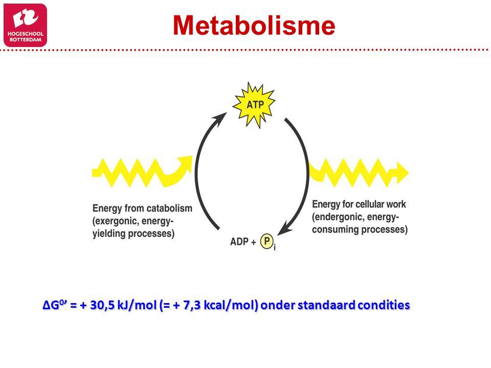 ΔG 0 ' = + 30,5 kJ/mol (= + 7,3 kcal/mol) onder standaard condities Metabolisme
