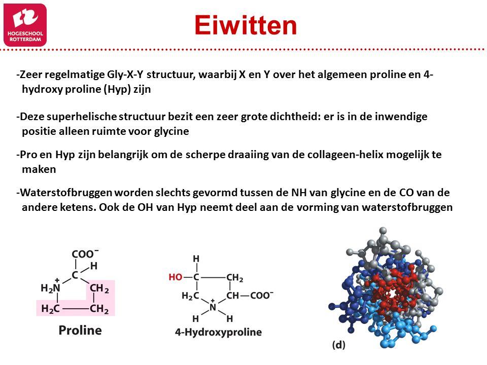 -Zeer regelmatige Gly-X-Y structuur, waarbij X en Y over het algemeen proline en 4- hydroxy proline (Hyp) zijn -Deze superhelische structuur bezit een zeer grote dichtheid: er is in de inwendige positie alleen ruimte voor glycine -Waterstofbruggen worden slechts gevormd tussen de NH van glycine en de CO van de andere ketens.
