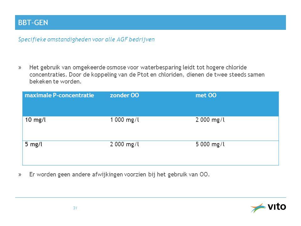 BBT-GEN »Het gebruik van omgekeerde osmose voor waterbesparing leidt tot hogere chloride concentraties. Door de koppeling van de Ptot en chloriden, di