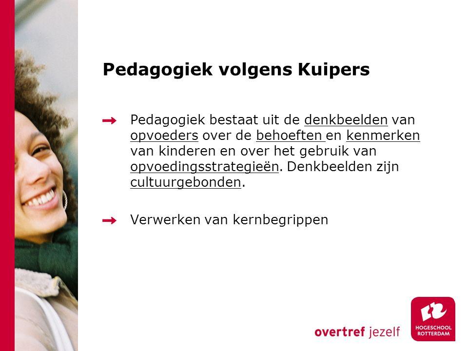 Pedagogiek volgens Kuipers Pedagogiek bestaat uit de denkbeelden van opvoeders over de behoeften en kenmerken van kinderen en over het gebruik van opv