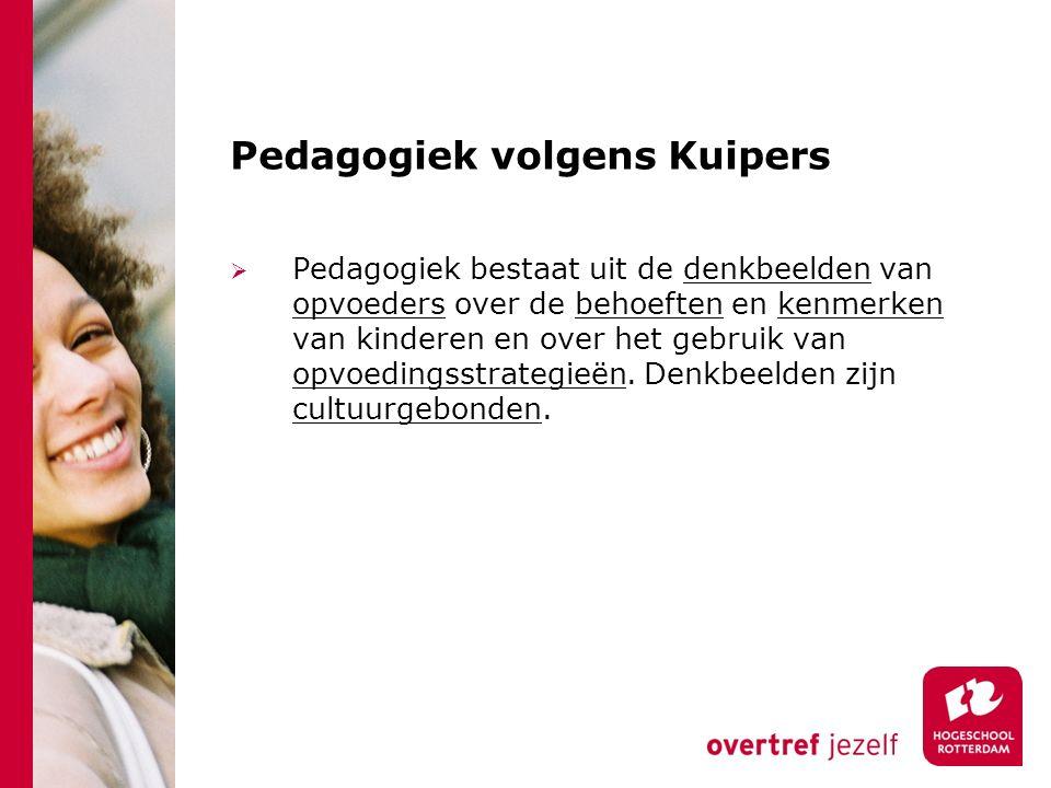 Pedagogiek volgens Kuipers  Pedagogiek bestaat uit de denkbeelden van opvoeders over de behoeften en kenmerken van kinderen en over het gebruik van o
