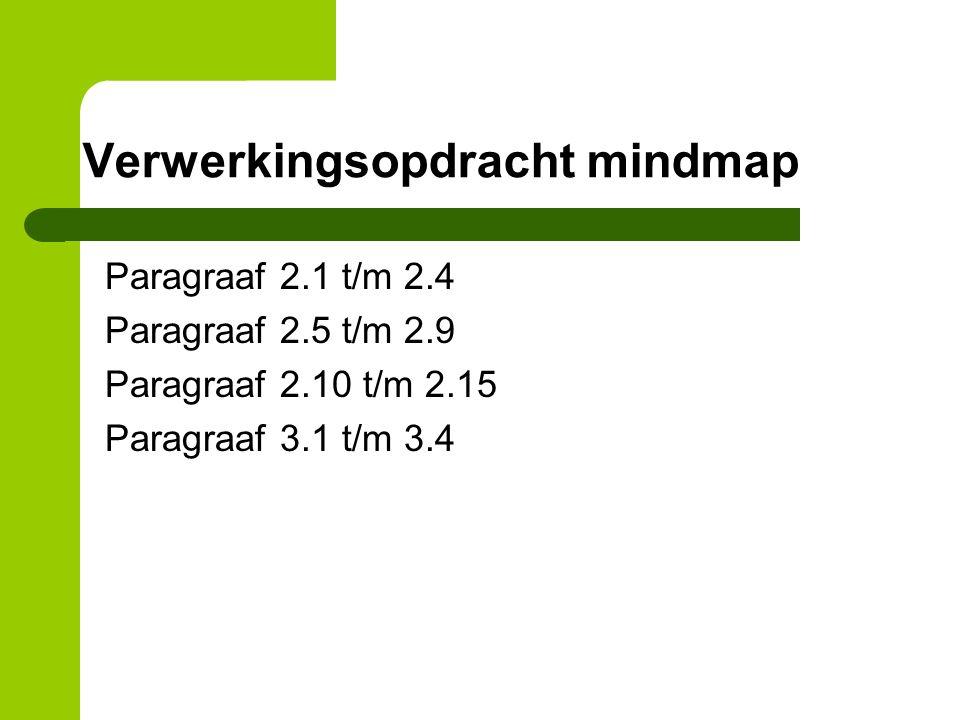 Verwerkingsopdracht mindmap Paragraaf 2.1 t/m 2.4 Paragraaf 2.5 t/m 2.9 Paragraaf 2.10 t/m 2.15 Paragraaf 3.1 t/m 3.4