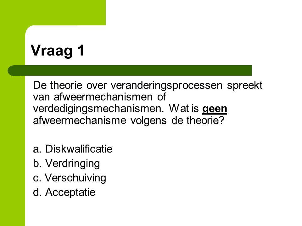 Vraag 1 De theorie over veranderingsprocessen spreekt van afweermechanismen of verdedigingsmechanismen.