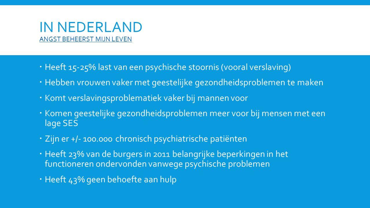 IN NEDERLAND ANGST BEHEERST MIJN LEVEN ANGST BEHEERST MIJN LEVEN  Heeft 15-25% last van een psychische stoornis (vooral verslaving)  Hebben vrouwen