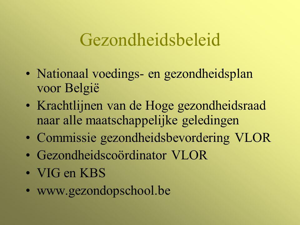 Gezondheidsbeleid Nationaal voedings- en gezondheidsplan voor België Krachtlijnen van de Hoge gezondheidsraad naar alle maatschappelijke geledingen Commissie gezondheidsbevordering VLOR Gezondheidscoördinator VLOR VIG en KBS www.gezondopschool.be