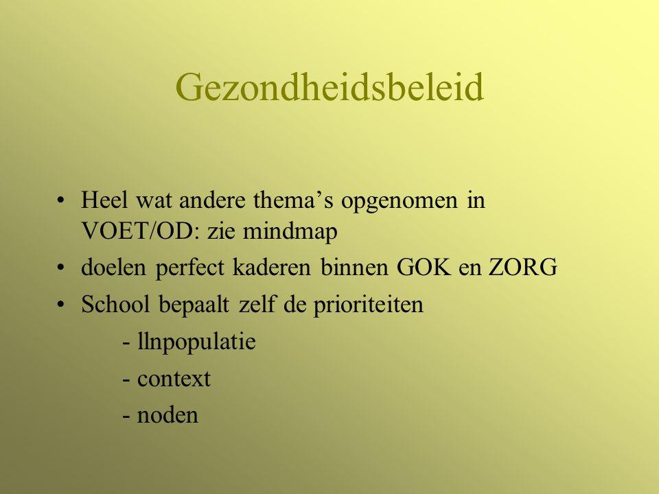 Gezondheidsbeleid Heel wat andere thema's opgenomen in VOET/OD: zie mindmap doelen perfect kaderen binnen GOK en ZORG School bepaalt zelf de prioriteiten - llnpopulatie - context - noden