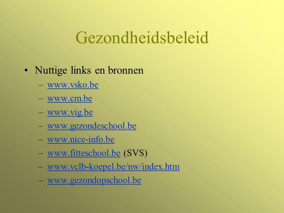 Gezondheidsbeleid Nuttige links en bronnen –www.vsko.bewww.vsko.be –www.cm.bewww.cm.be –www.vig.bewww.vig.be –www.gezondeschool.bewww.gezondeschool.be –www.nice-info.bewww.nice-info.be –www.fitteschool.be (SVS)www.fitteschool.be –www.vclb-koepel.be/nw/index.htmwww.vclb-koepel.be/nw/index.htm –www.gezondopschool.bewww.gezondopschool.be