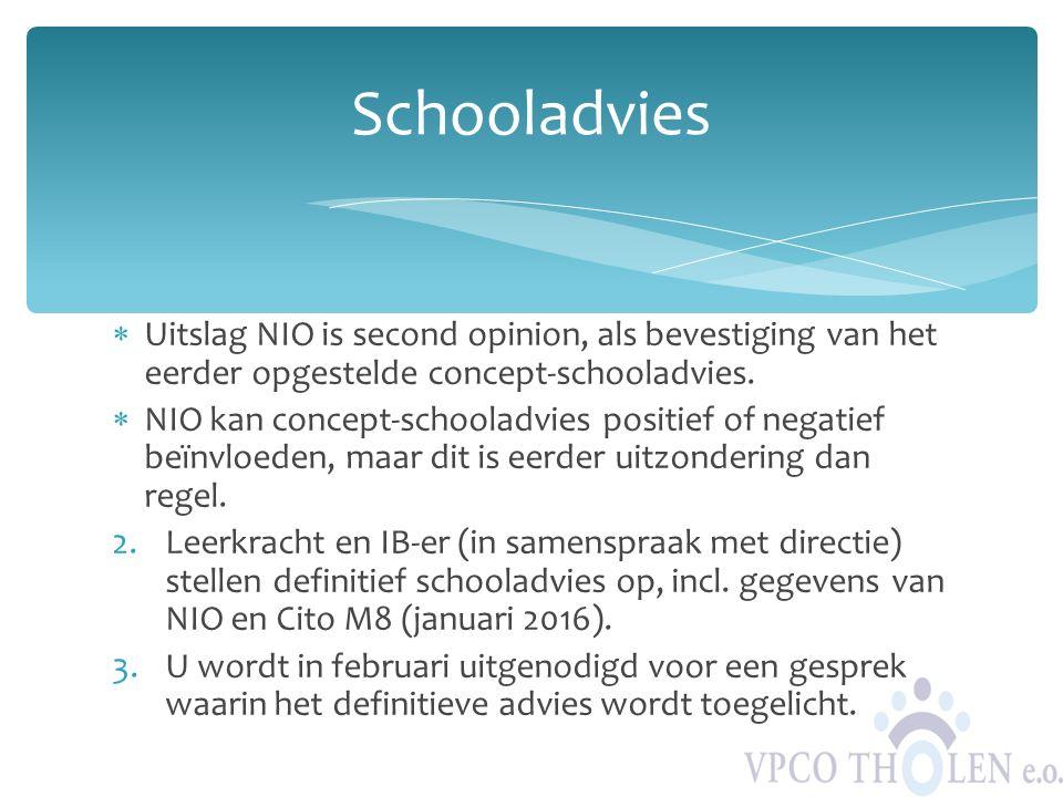  Uitslag NIO is second opinion, als bevestiging van het eerder opgestelde concept-schooladvies.  NIO kan concept-schooladvies positief of negatief b