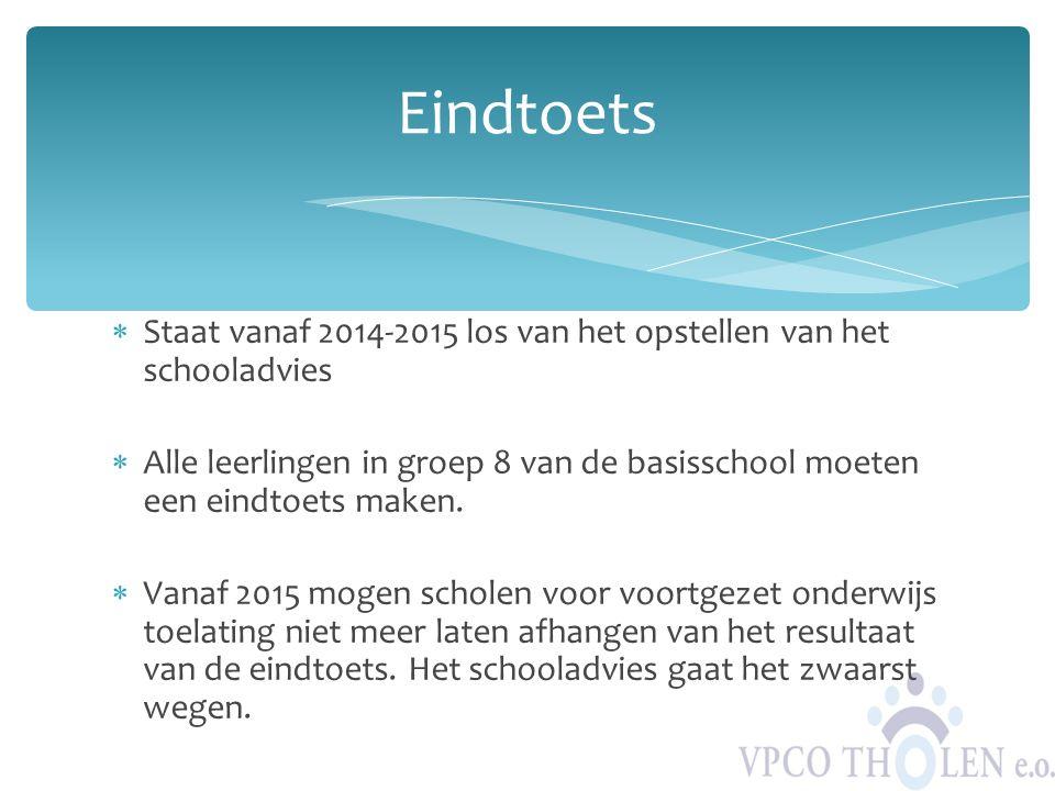  Staat vanaf 2014-2015 los van het opstellen van het schooladvies  Alle leerlingen in groep 8 van de basisschool moeten een eindtoets maken.  Vanaf