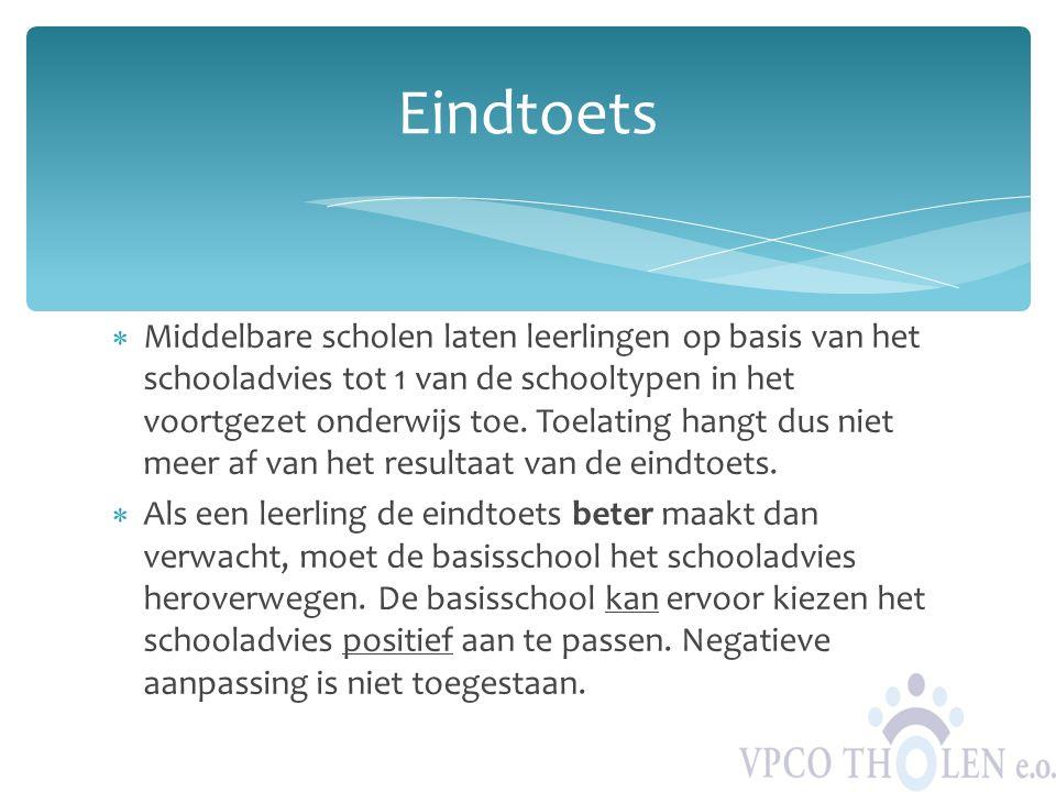  Middelbare scholen laten leerlingen op basis van het schooladvies tot 1 van de schooltypen in het voortgezet onderwijs toe. Toelating hangt dus niet