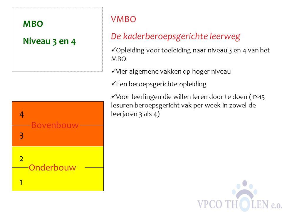 VMBO De kaderberoepsgerichte leerweg Opleiding voor toeleiding naar niveau 3 en 4 van het MBO Vier algemene vakken op hoger niveau Een beroepsgerichte