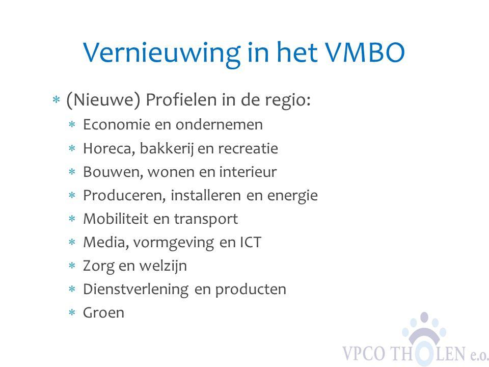 Vernieuwing in het VMBO  (Nieuwe) Profielen in de regio:  Economie en ondernemen  Horeca, bakkerij en recreatie  Bouwen, wonen en interieur  Prod