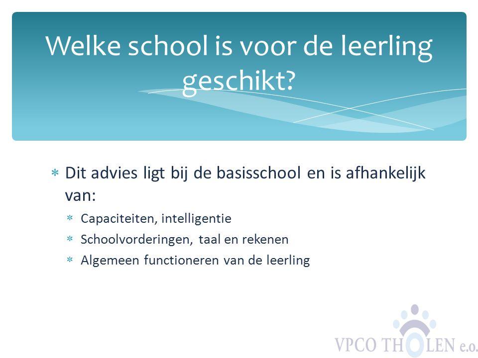  Dit advies ligt bij de basisschool en is afhankelijk van:  Capaciteiten, intelligentie  Schoolvorderingen, taal en rekenen  Algemeen functioneren