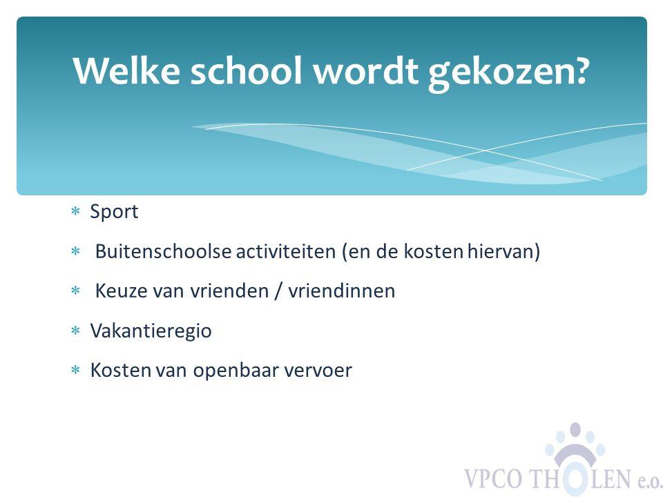  Sport  Buitenschoolse activiteiten (en de kosten hiervan)  Keuze van vrienden / vriendinnen  Vakantieregio  Kosten van openbaar vervoer Welke sc