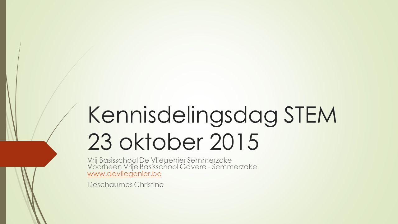 Kennisdelingsdag STEM 23 oktober 2015 Vrij Basisschool De Vliegenier Semmerzake Voorheen Vrije Basisschool Gavere - Semmerzake www.devliegenier.be www.devliegenier.be Deschaumes Christine