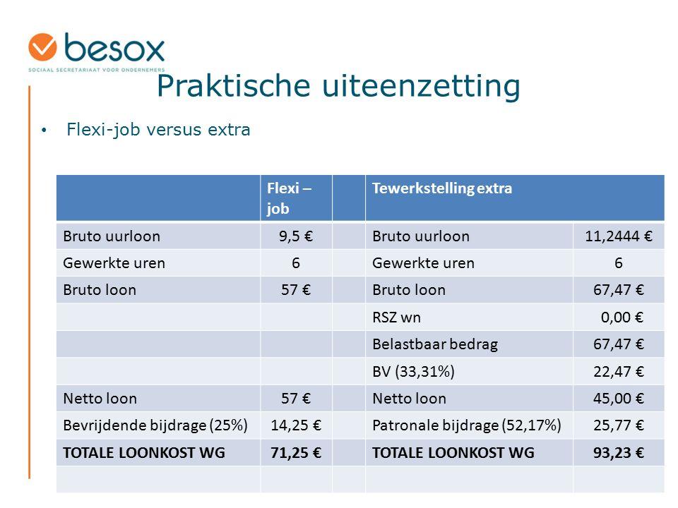 Praktische uiteenzetting Flexi-job versus extra Flexi – job Tewerkstelling extra Bruto uurloon9,5 €Bruto uurloon11,2444 € Gewerkte uren6 6 Bruto loon5