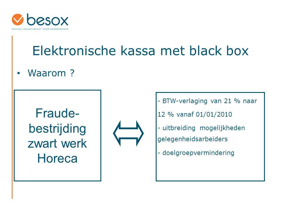 Elektronische kassa met black box Waarom ? - BTW-verlaging van 21 % naar 12 % vanaf 01/01/2010 - uitbreidingmogelijkheden gelegenheidsarbeiders - doel