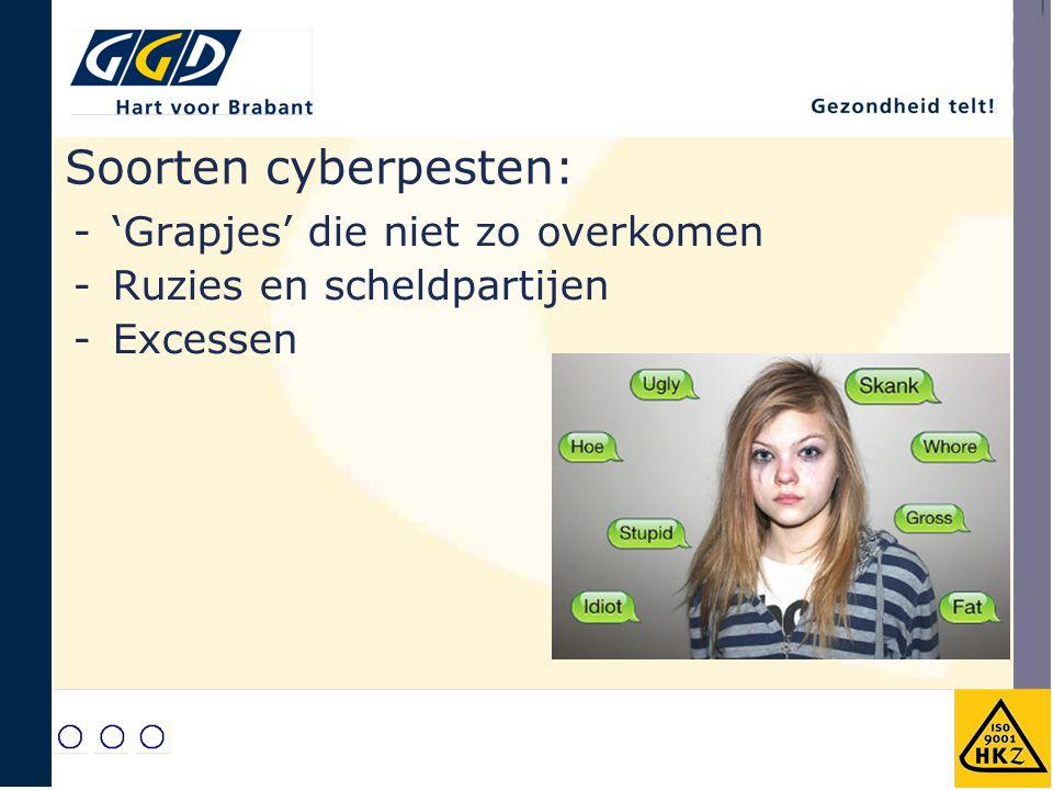 Soorten cyberpesten: -'Grapjes' die niet zo overkomen -Ruzies en scheldpartijen -Excessen