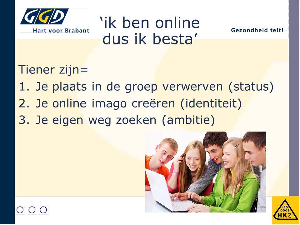 'ik ben online dus ik besta' Tiener zijn= 1.Je plaats in de groep verwerven (status) 2.Je online imago creëren (identiteit) 3.Je eigen weg zoeken (ambitie)