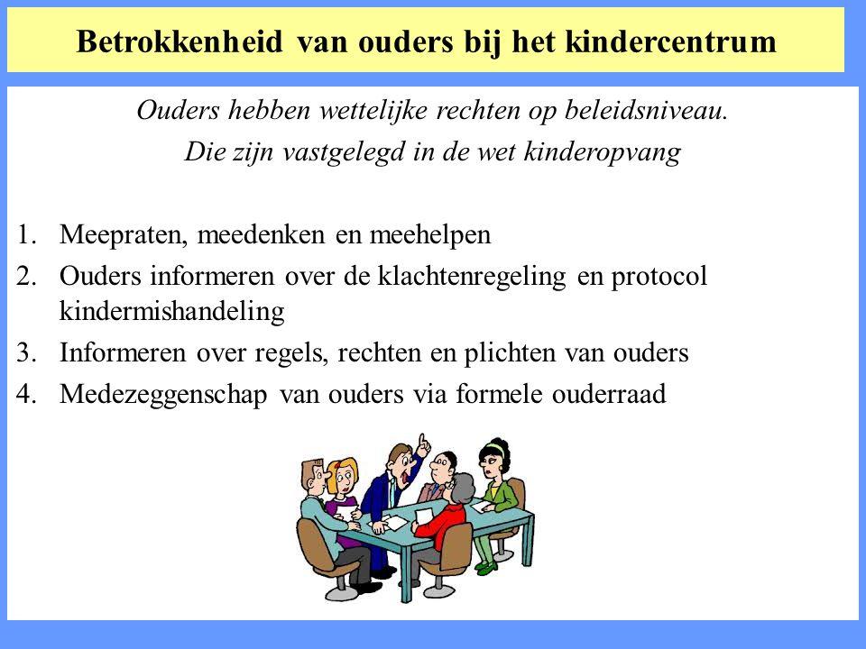 Betrokkenheid van ouders bij het kindercentrum Ouders hebben wettelijke rechten op beleidsniveau.