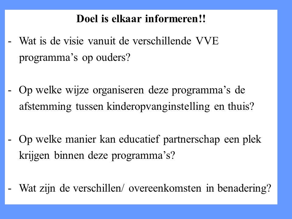 Doel is elkaar informeren!.-Wat is de visie vanuit de verschillende VVE programma's op ouders.